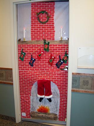 santa in chimney christmas door & Craftionary