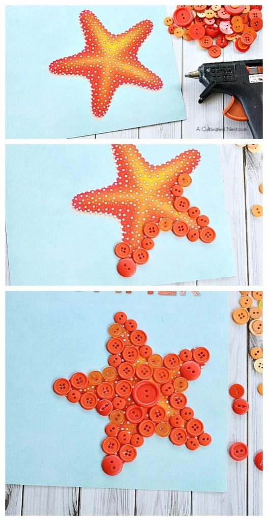 Starfish button kids carft