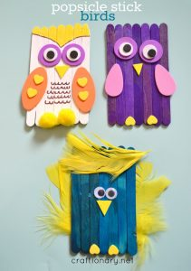 DIY bird craft using popsicle sticks