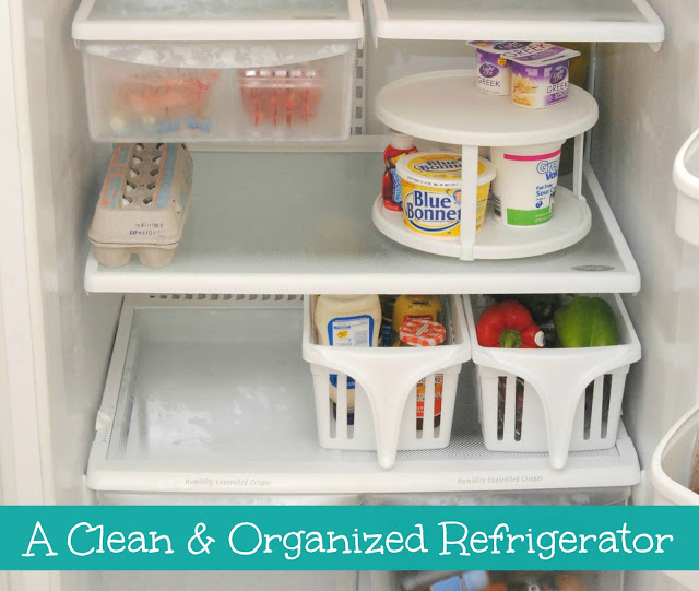 use lazy susan in fridge for ease