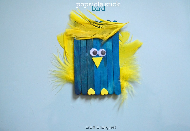 Popsicle sticks bird craft