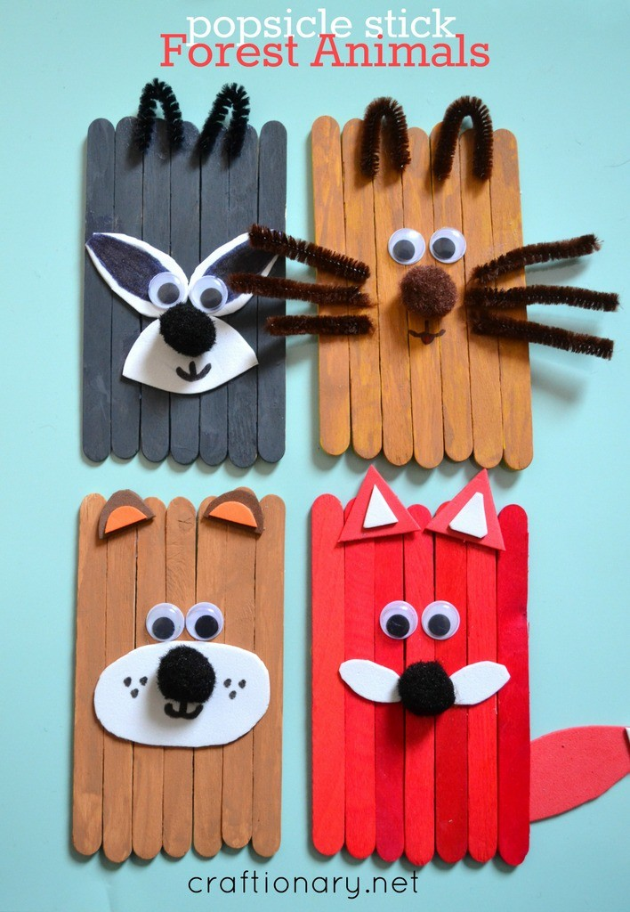 popsicle sticks forest animals