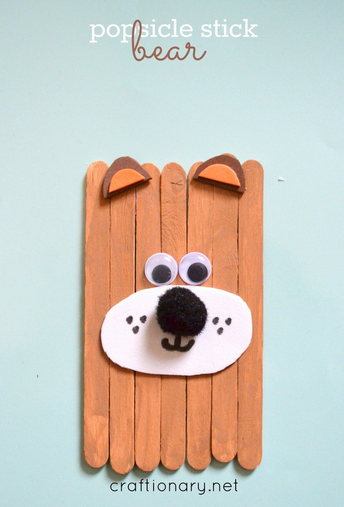 popsicle sticks grizzly bear