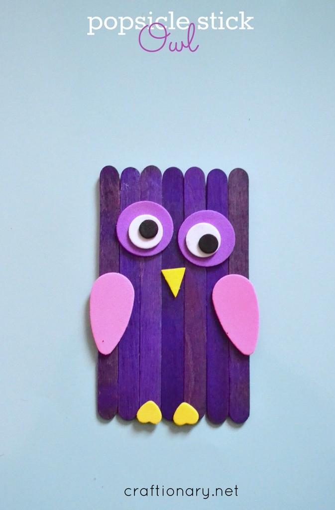 Popsicle sticks owls