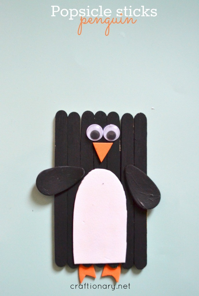 Popsicle sticks penguin craft