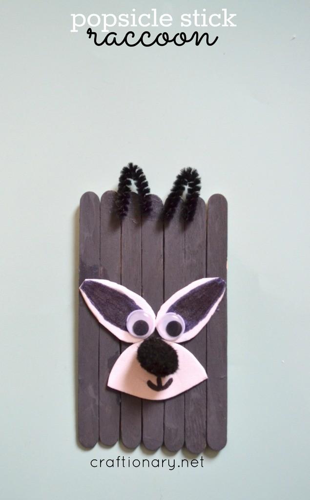 popsicle sticks animals - raccoon craft