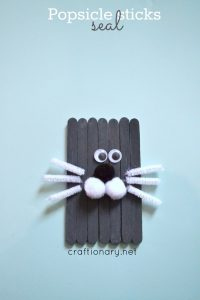 Popsicle sticks seal craft