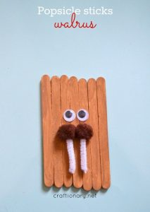 Popsicle sticks walrus craft for winter