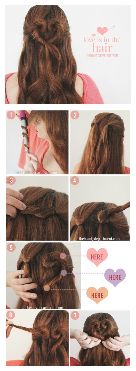 Twist heart hair bun how to
