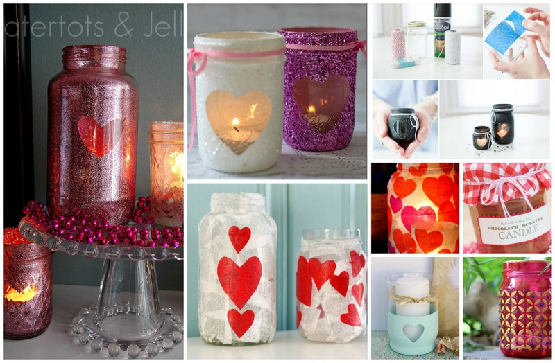 Valentines day mason jar candles