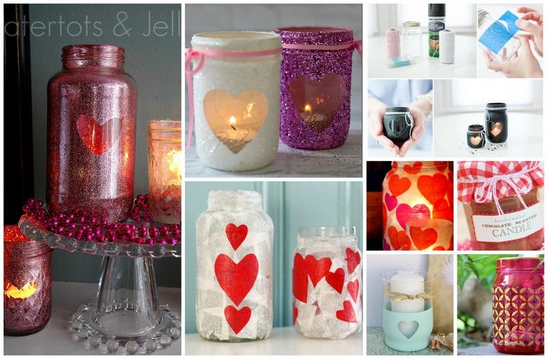 Valentines day mason jar candles