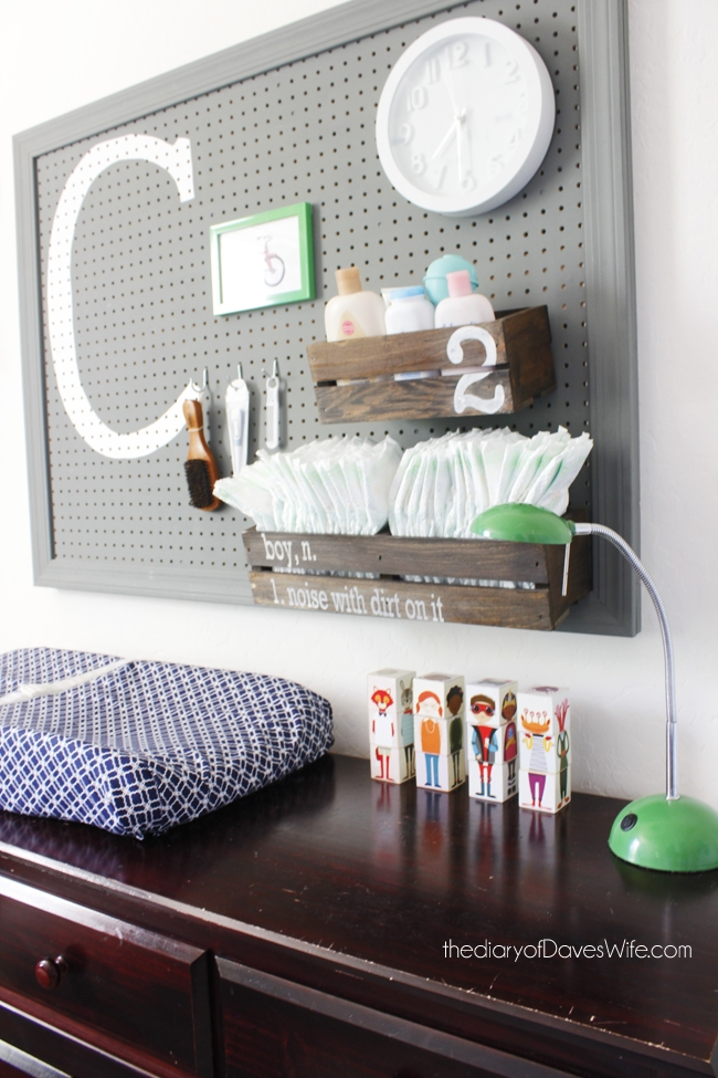 changing station pegboard