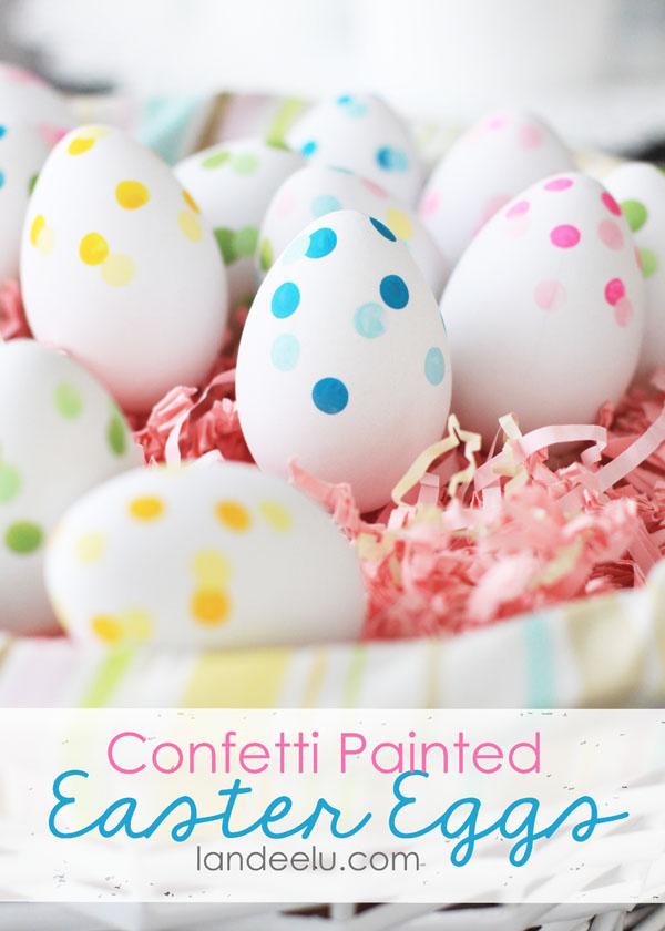 confetti painted eggs