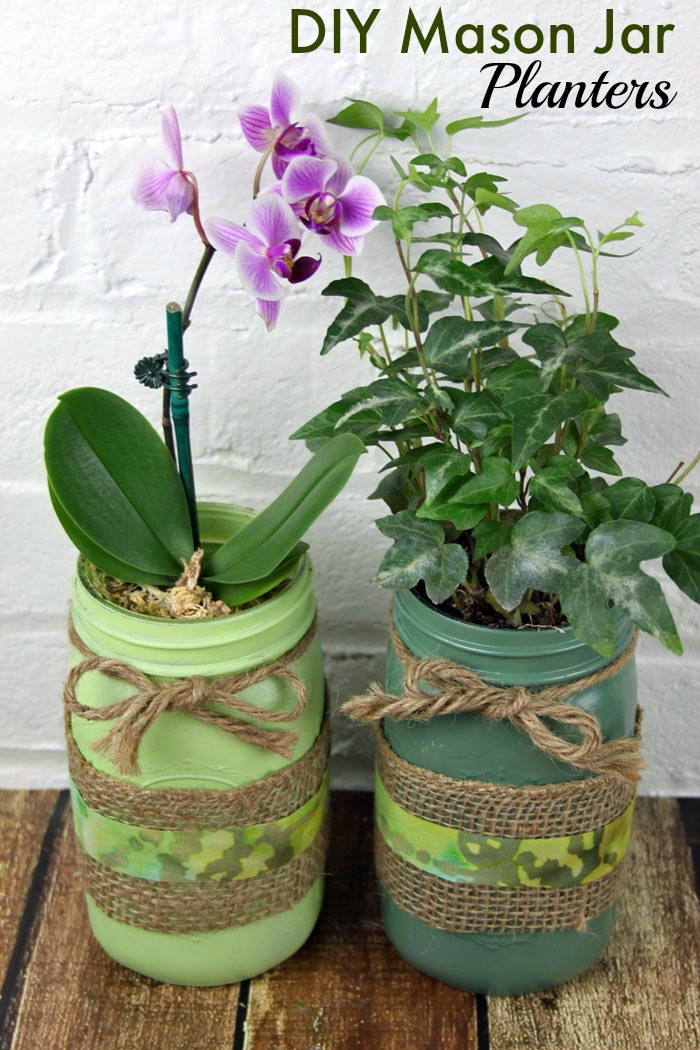 DIY mason jar planters with burlap and twine in green