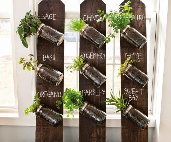 vertical mason jar herb garden