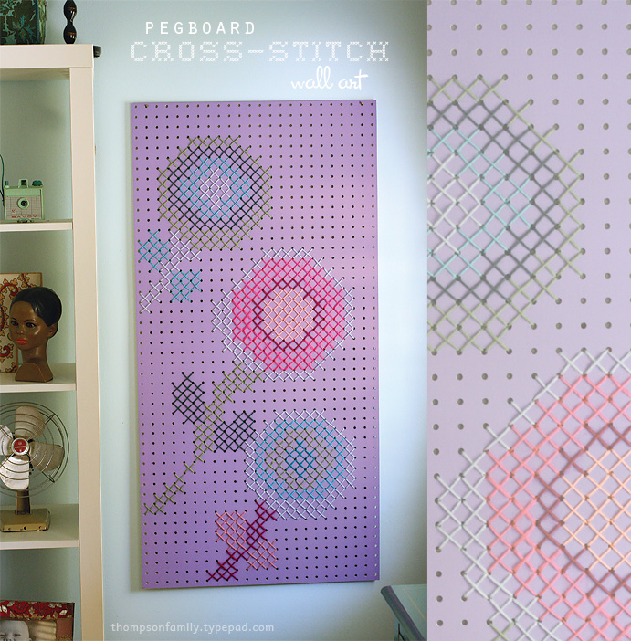 cross stitch peg board DIY art