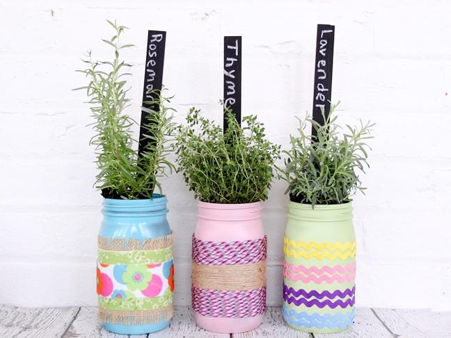 herb garden diy mason jar planters