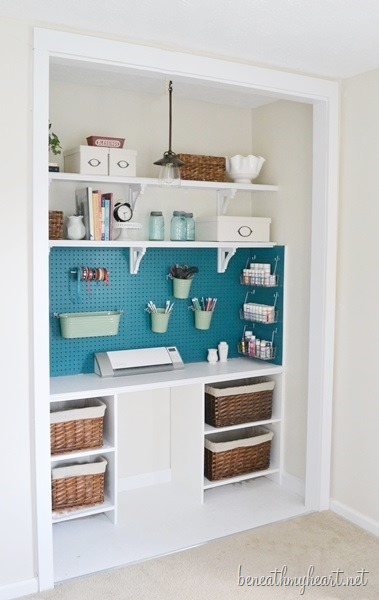 office and crafts closet pegboard