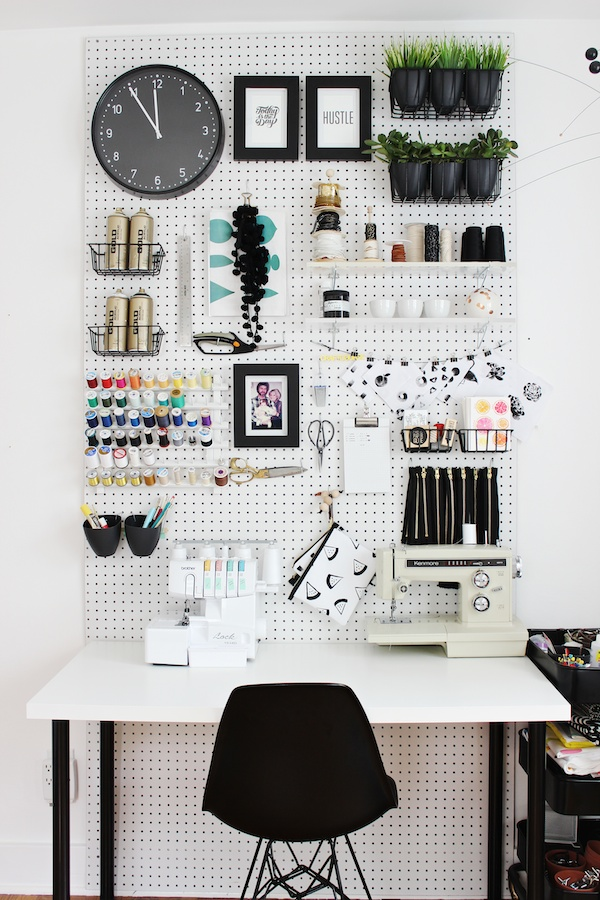 pegboard workspace wall