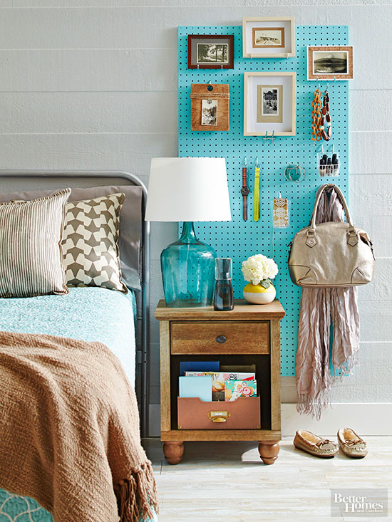 nightstand pegboard idea