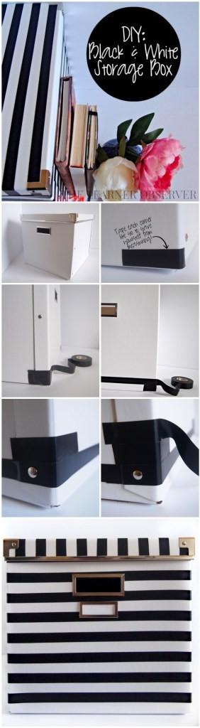 black and white storage boxes