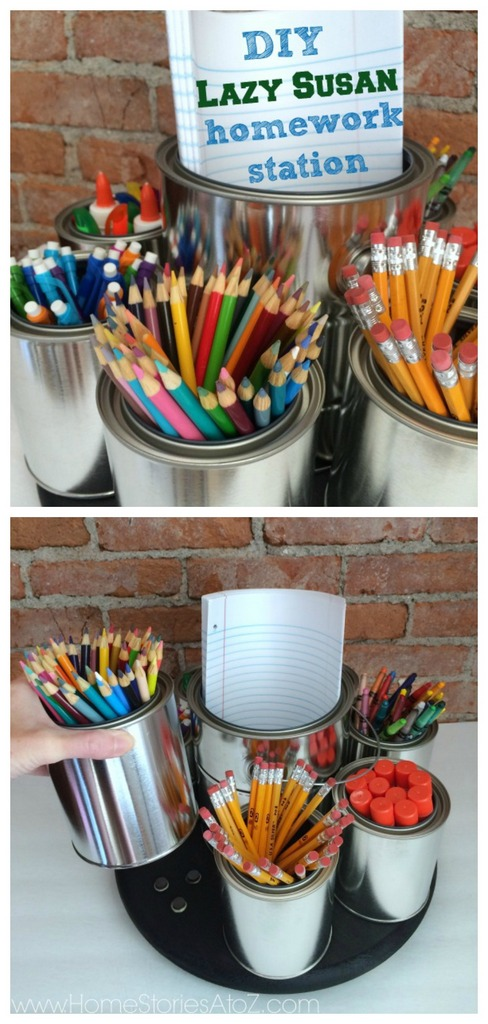 DIY lazy susan homework station