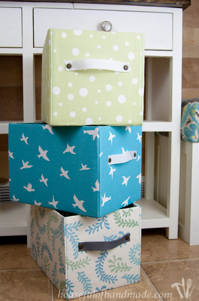 fabric covered storage box