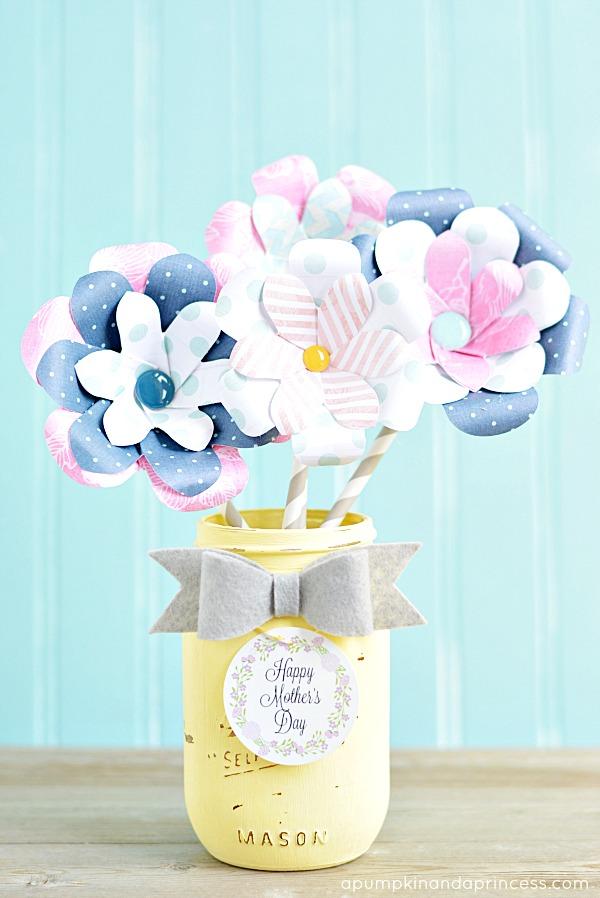 paper flower mason jar vase