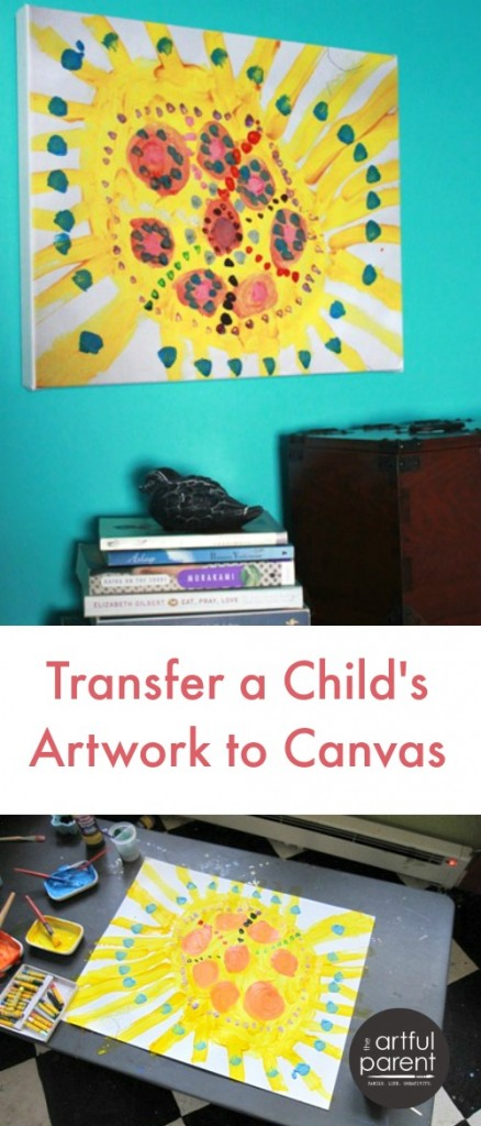 transfer kids art work on canvas