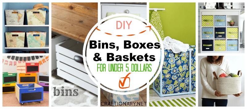DIY bins boxes baskets for storage