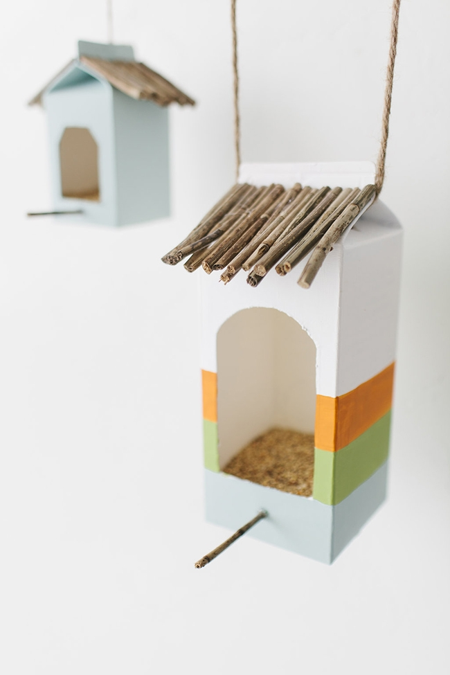 DIY milk carton bird feeder