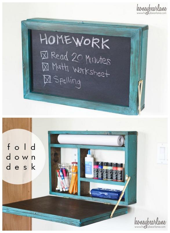 Homework Wall Hideaway Plans Fold Art Desk For Kids