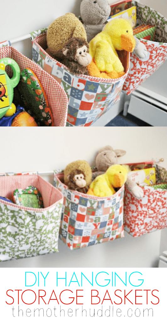 DIY hanging storage baskets
