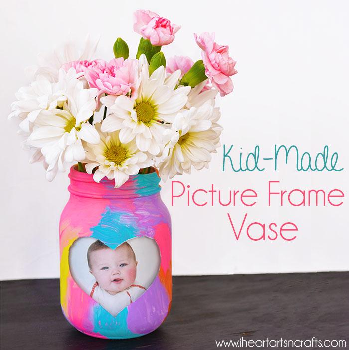 kid made jar frame vase