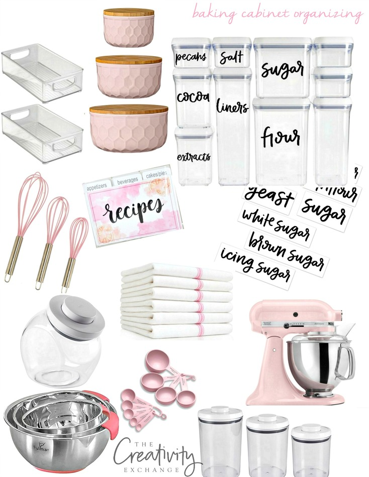 Baking cabinet organizing with free printable labels