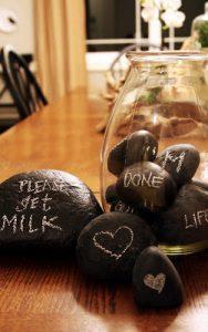 Chalk board rock vase filler