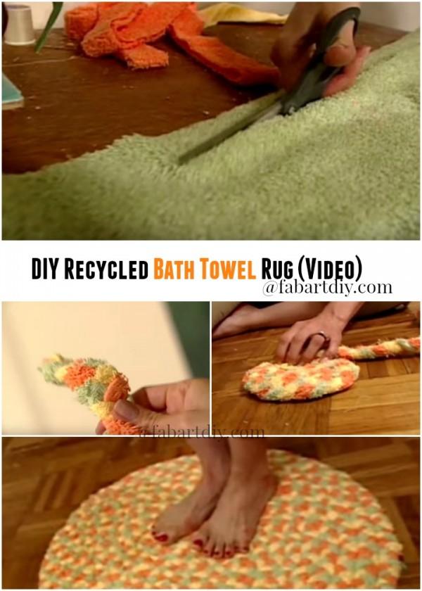 DIY Recycled Bath Towel Rug