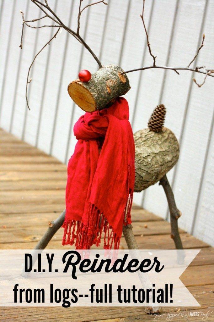 DIY reindeer from log