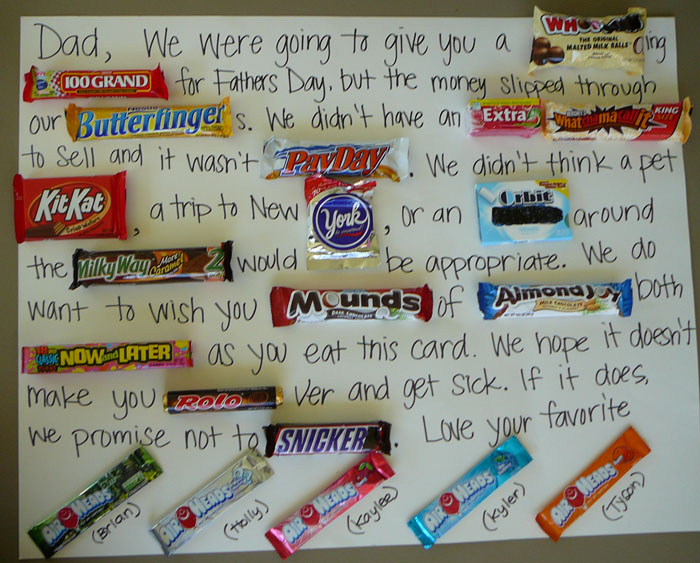 fathers day edible gift letter