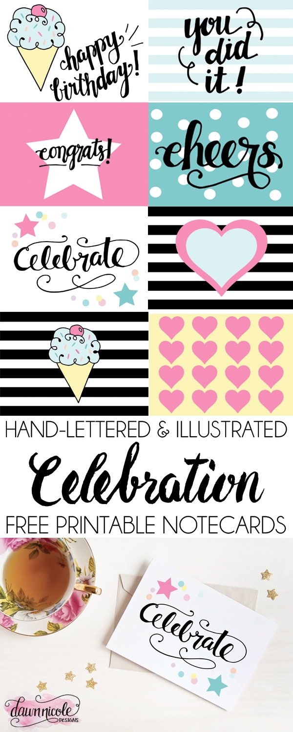 Hand Lettered Celebration Free Printable Notecards