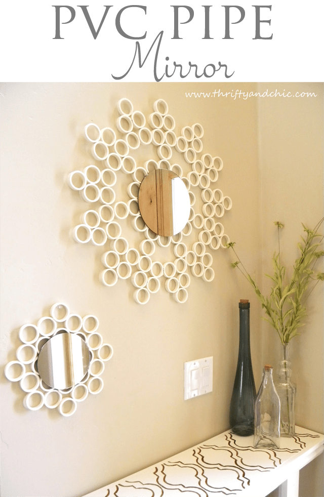 pvc pipe decorated mirror