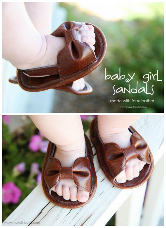 baby girl sandals made with faux leather