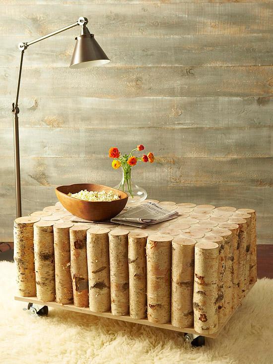 build a birch log coffee table