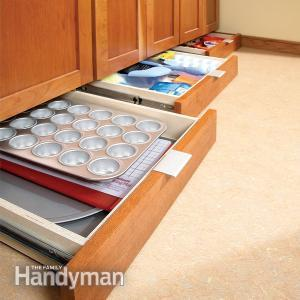 build under cabinet drawers to store baking equipment