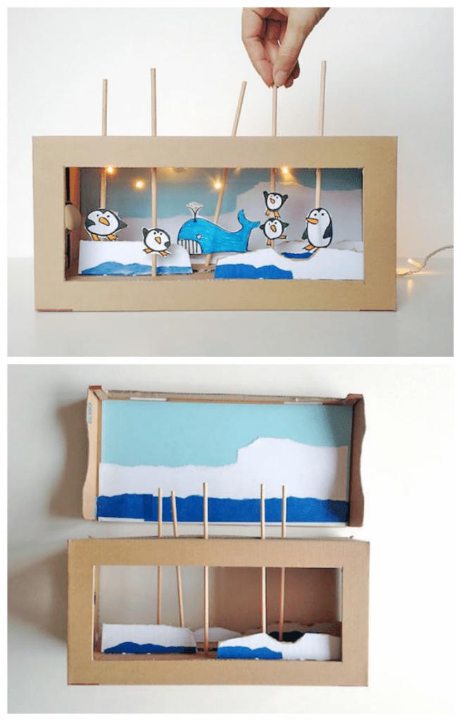 DIY cardboard box puppet show