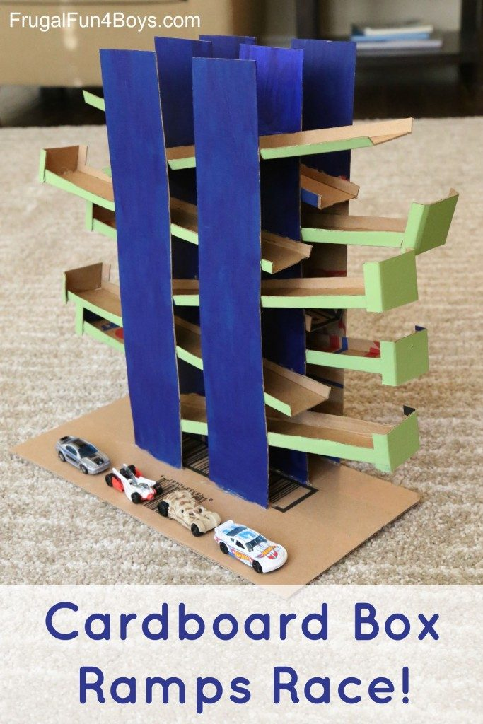 Cardboard box ramps race for cars