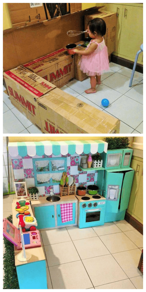 Constructing an epic cardboard box kitchen