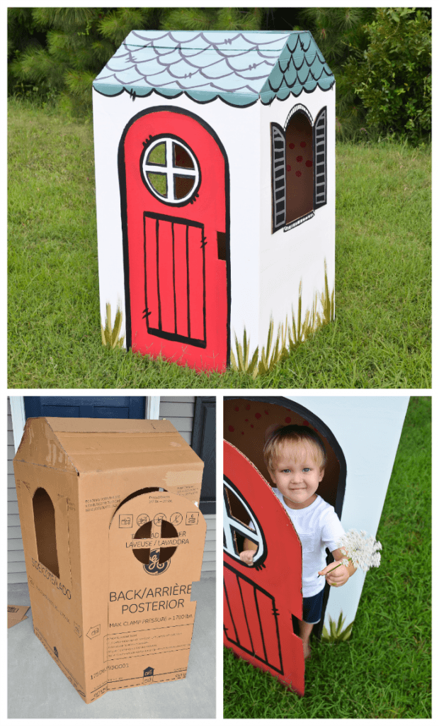 DIY cardboard box playhouse