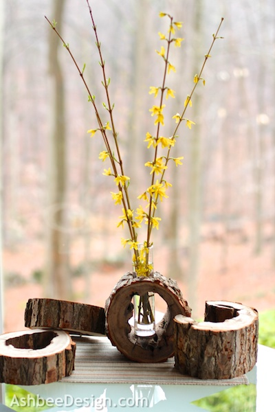 diy log slice vase with flowers