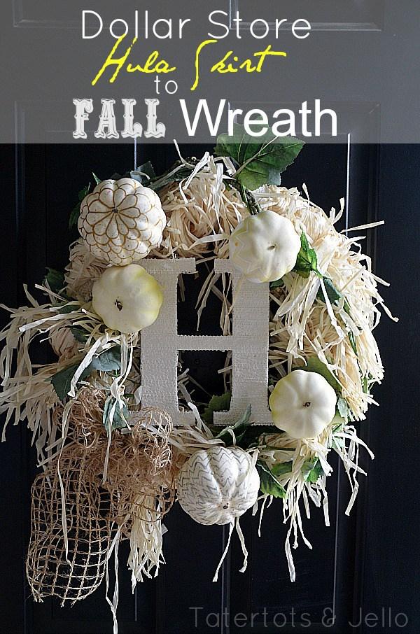 dollar store hula skirt to fall wreath